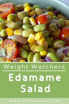 Weight Watchers Edamame Salad Recipe. A healthy, vegetarian appetizer or side dish with edamame, corn, red bell pepper, red onion, green onion, parsley, basil, lemon juice, Dijon mustard, and olive oil. This quick and easy salad is ready in 20 minutes. This is a great option for a refreshing summer lunch. Only 240 calories and Gluten Free. MyWW Points: 1 Blue Plan and 7 Green Plan, 1 WW Freestyle Point and 7 Smart Points. Weight Watchers Salad, Weight Watchers Vegetarian, Vegetarian Appetizers, Vegetarian Recipes, Healthy Recipes, Diabetic Recipes, Healthy Meals, Summer Recipes, New Recipes