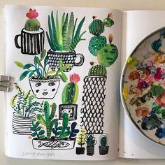 Happy Monday! #sketchbook #gouachepainting #succulents #365daysofpaint