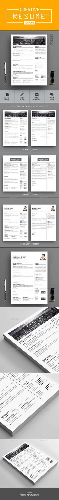 #creative #modern #Resume #template - #simple Resumes Stationery #design. download; https://graphicriver.net/item/resume/20366324?ref=yinkira