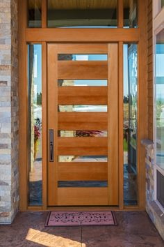 Contemporary fir wood front door with clear glass and custom sidelites and transom. Modern Wood Doors, Modern Entrance Door, Modern Exterior Doors, Exterior Doors With Glass, Contemporary Front Doors, Front Doors With Windows, Wood Exterior Door, Modern Front Door, Front Door Entrance