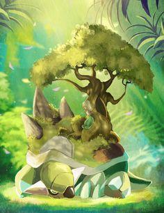 Torterra Gen IV starter with Treeko the Gen III