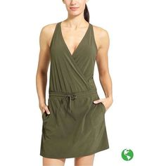 Athleta Women Take A Hike Dress ($79) ❤ liked on Polyvore featuring forest green, athleta, athleta skort and golf skirts