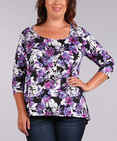 Love this Purple & Black Floral Keyhole-Back Top - Plus on #zulily…