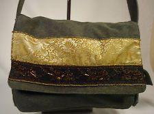 LILY BLACK DENIM Beaded Gold Brown BOHO VTG Style LARGE Bag Purse Shoulderbag