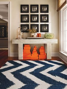 Blue and White Chevron Rug and Hermes Orange Boxes Home Design, Diy Design, Home Interior Design, Design Ideas, Interior Decorating, Design Room, Modern Interior, Decorating Ideas, Interior Inspiration