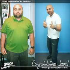 Congratulations to Jason Styron from Miami, Florida for losing 91 pounds on the Quick Weight Loss Centers program!   \ #weightlosstips