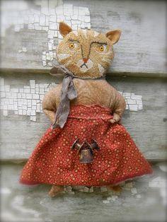Primitive Folk Art Cat Doll ~ Emmaline ~ from ©Notforgotten Farm #NaivePrimitive #LoriBrechlin