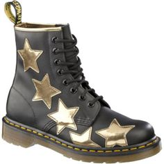Dr. Martens Applique Stella 8 Eye Star Boot BLACK+GOLD SOFTY T+KORAM FLASH