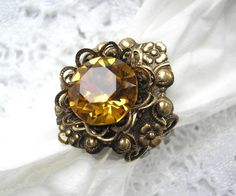 Golden Topaz Vintage Style Ring by MorningGloryDesigns on Etsy