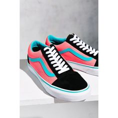 Vans Brite Old Skool Sneaker ($60) ❤ liked on Polyvore featuring shoes, sneakers, fluorescent shoes, neon pink sneakers, vans trainers, bright pink sneakers and bright pink shoes