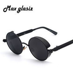 f972be2a9f2 Mirror Lens Round Glasses Goggles Steampunk Sunglasses Vintage Retro For  men and women