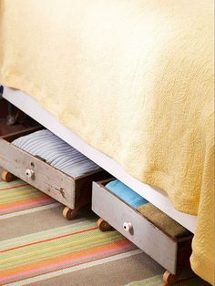 Under Bed Storage Drawers on Wheels. Use old drawers with wheels on the bottom to create under the bed storage.