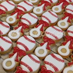 Baseball baby rattle cookies for a sporty baby shower