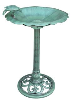 Birdbath - Bird on Side.  This birdbath features a sturdy base and a concave bowl perfect for your feathered friends in any way. Use them as a strategic accent to your patio setting or move it into the garen and create a perfect centerpiece. #birdbath #bird