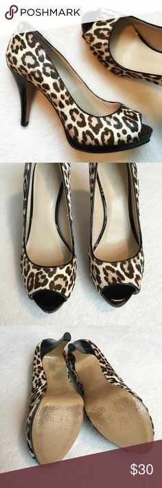 """{Nine West} Cow Hair Peep-Toe Pumps Nine West """"Danee"""" authentic cow hair peep-toe pumps. 3 1/2"""" heel. Size 6 1/2. Excellent condition, just minor scuffing on bottoms. Nine West Shoes Heels"""
