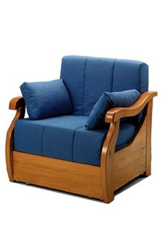 Sillon cama tapizado en tela azul for Sillon cama amazon