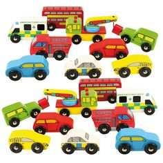 Wooden Vehicles Pack - A colourful collection of wooden vehicles. Brightly coloured cars, emergency vehicles, (Fire Truck, Ambulance and Police Car), buses and tow trucks make up this fleet of vehicles. The tow truck has a magnetic winch to enable it to pull a broken down vehicle. Endless hours of creative role play fun. Fits beautifully with our floor Mats and garages.