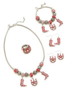 The #GraceAdele Cowgirl jewelry collection in scarlet. The earrings pictured here come together in a 2-pack! www.laurietravis.scentsy.us