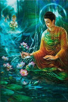Buddha Just After Enlightenment Buddha Life, Buddha Buddhism, Buddha Art, Lord Ganesha Paintings, Spiritual Paintings, Buddhism Wallpaper, Buddha Painting, Yoga Painting, Fantasy Paintings