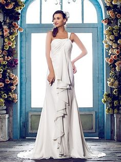 Sheath/Column One Shoulder Sweep/Brush Train Chiffon Wedding Dress Easebuy! Free Measurement!
