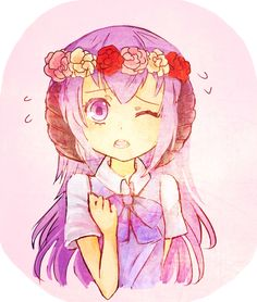 hau hau flowers on my head by Bird-chii on DeviantArt Koroni, When They Cry, Clannad, Flower Crowns, Anime Shows, Shoujo, Me Me Me Anime, Crying, Horror
