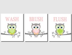 Girls Bathroom Art Owls Pink Gray Green Owl Bathroom Theme Kids Bathroom  Art Owls Wash Brush