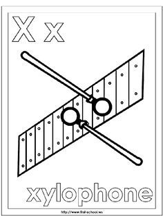 Xylophone Coloring Page Alphabet Letter X