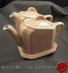 Vintage Hall China Pink & White Tea For Two Teapot & Water Pot with Tray #HallChina