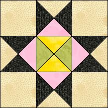 Block of Day for April 14, 2016 - Dolly Madison Star-strip piecing-The pattern may be downloaded until: Saturday, April 30, 2016.
