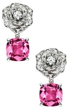 Piaget Rose Earrings in 18K white gold set with 52 brilliant-cut diamonds and 2 cushion-cut pink tourmalines. Via Piaget.