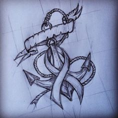 Anchor With Cancer Ribbon Tattoo Design