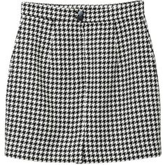 Monki Louise skirt (€35) ❤ liked on Polyvore featuring skirts, mini skirts, bottoms, shorts, jupes, pooches, houndstooth print skirt, tail skirt, mini skirt and print skirt