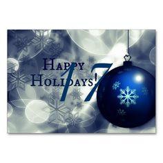 Blue Happy Holidays Table Card