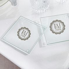 Personalized Glass Coasters Medallion Design  Uniquely designed  Glass Coasters with Medallion Design from our Bohemian wedding favors collection.