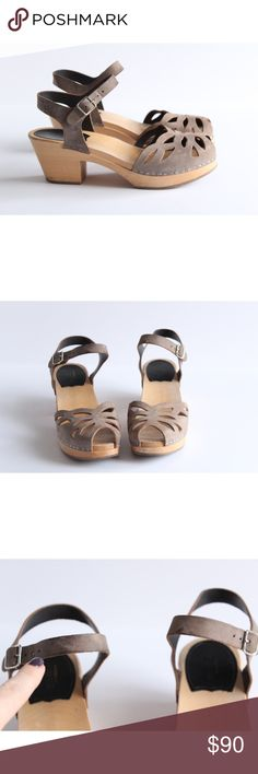 """Swedish Hasbeens Ornament High Sandals Clogs Swedish Hasbeens Ornament dark grey High Sandals. Wooden heel and platform. Buckle closure. Heel hight: 2 1/4"""" Platform: 3/4"""" These beauties are in great condition with only a few signs of wear. Some spots and stains on the leather. Please look at pictures. No modeling and no trades. Feel free to ask any questions. Swedish Hasbeens Shoes Mules & Clogs"""