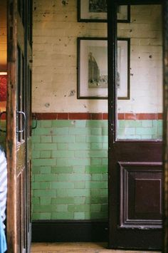 Brian Ferry Hall way, #brasserie style , green #tiles
