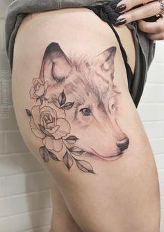 Cute Wolf Tattoo #FlowerTattooDesigns