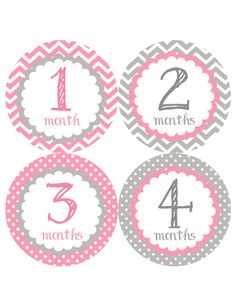 Classic Gray & Pink Monthly Onesie Stickers  Light by My3LilPeas, $10.00