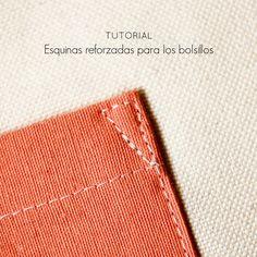 Tutorial: Cómo hacer esquinas reforzadas para los bolsillos — Studio COSTURA Easy Sewing Projects, Sewing Hacks, Sewing Tutorials, Sewing Tips, Mccalls Patterns, Sewing Patterns, Costura Diy, Sewing Blouses, Sewing Techniques