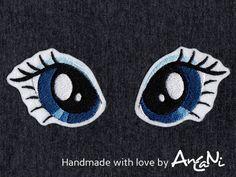 Aufnäher Einhornaugen ♥ Applikation Pony Augen von AnCaNi auf DaWanda.com