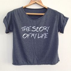 Crop the Story of My Life 1 Direction Shirt 1d Tunic One Direction... ($13) ❤ liked on Polyvore