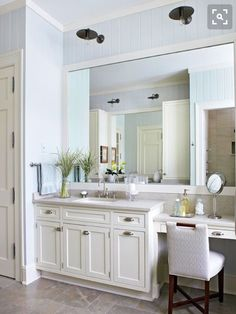 Superbe Antique Sconces Hang Above The Oversize Mirror And Add Unexpected Flair To  The Light And Bright Bathroom. The Dark Finish On The Light Fixtures Adds  Weight ...