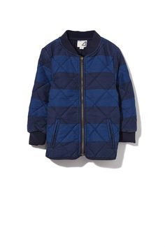 BILLY QUILTED JACKET, NAVY/BLACK STRIPE