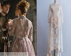 Princess Claude (Rose Williams) wears this lace floral embroidered dress in this episode of Reign. It is the Gossamer Vintage 1960s Beaded Lace High Collar Gown. Sold Out.