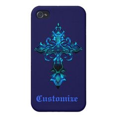 Blue Medieval Cross Cases For iPhone 4