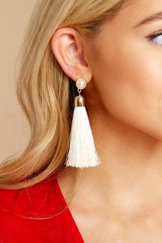 Lifts Us Up White Tassel Earrings Cute Cardigans, Cute Sweaters, Sweaters For Women, White Tassel Earrings, Gold Earrings, Drop Earrings, Cold Weather Fashion, Pearl Studs, Gold Hardware