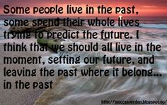 Love Your Life: Live Some people live in the past,  some spend their whole lives trying to predict the future. I think that we should all live in the moment, setting our future, and leaving the past where it belong... In the past.