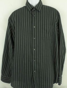 Van Heusen Mens Long Sleeve Large Button Down Collar Black Striped 60% Cotton #VanHeusen #ButtonFront