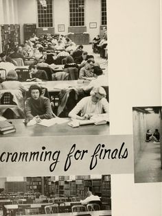 Athena yearbook, 1957. Cramming for finals in the Chubb Library. :: Ohio University Archives