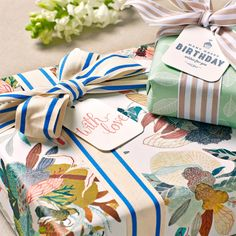 Double sided gift wrap | Mint leaves wrapping paper | Honey cluster wrapping paper